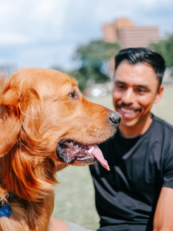 Happy Dog & Owner After Purchasing Dog Insurance | Odie Pet Insurance